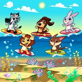 Funny animals surfing on the sea. Cartoon and vector illustration.