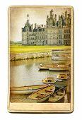 European landmarks vintage cards series- Chambord castle poster