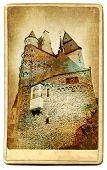 European landmarks series - castle Eltzburg- vintage card poster