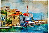 beautiful Kastelorizo bay (Greece, Dodecanes)  - artwork in painting style