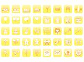 stock photo of clown rose  - set of yellow birthday icons vector illustration - JPG