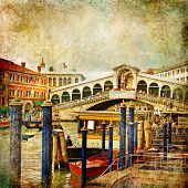 colors of romantic Venice- painting style series - Rialto bridge