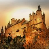 stock photo of chateau  - impressive Alcazar castle on sunset  - JPG