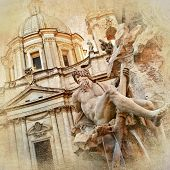 stock photo of piazza  - great Rome artistic series  - JPG