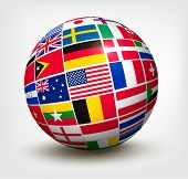 image of continent  - Flags of the world in globe - JPG