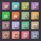 Shopping Icon Set. Flaticons series (metro style flat icons with long shadow)