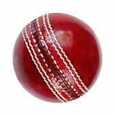 stock photo of cricket ball  - Cricket ball isolated on white - JPG