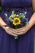 Bridesmaid With Sunflower Bouquet