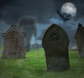 stock photo of walking dead  - Ghost of gentleman walks through cemetery at Halloween - JPG