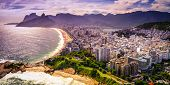 picture of ipanema  - Aerial view of buildings on the beach front Ipanema Beach Rio De Janeiro Brazil