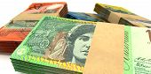 Australian Dollar Notes Bundles Stack Extreme Closeup