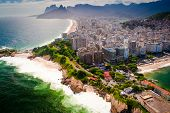 stock photo of ipanema  - Buildings at the waterfront Ipanema Beach Copacabana Beach Rio de Janeiro Brazil - JPG