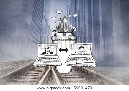 Video chat doodle against cityscape projection over railway tracks