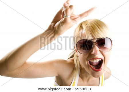 Young Woman Making A Rock Sign