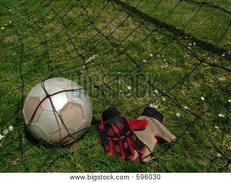 Football  Soccer Ball In Goal