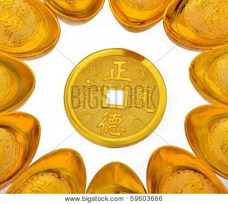 Chinese Gold Ingots and gold COINS on White Background.
