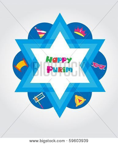 Jewish holiday Purim set of elements for design