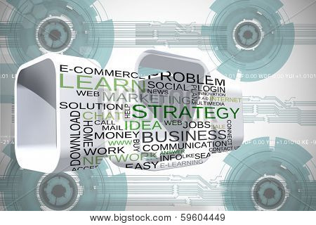 Business buzzwords on abstract screen against technology wheel background
