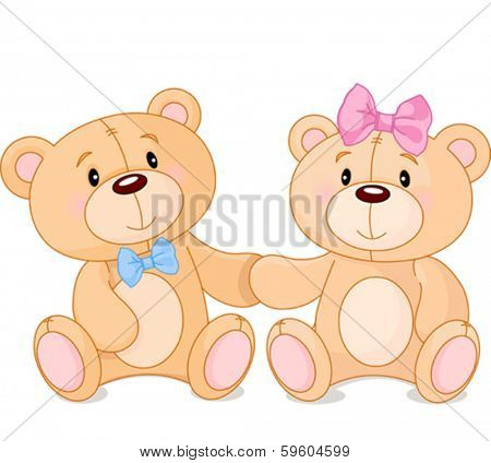 Two cute Teddy bears in love