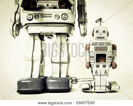 father and son robot toys