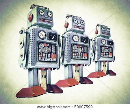 robot team in retro color