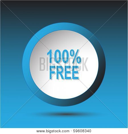 100% free. Plastic button. Vector illustration.