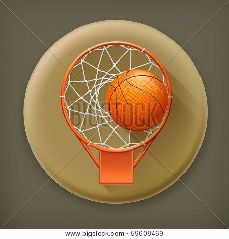 Basketball icon, long shadow vector icon