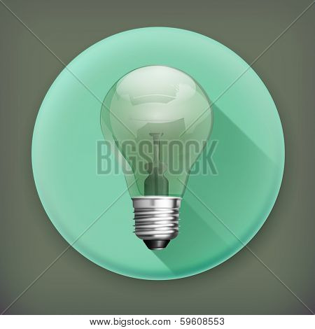 Lightbulb, long shadow vector icon
