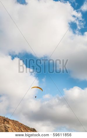 Flying Paraglider