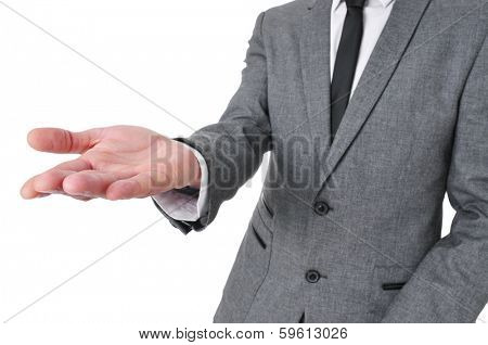 man wearing a suit with his hand open, as begging or showing or holding something