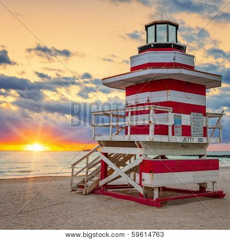 Sunrise With Famous Lifeguard Tower