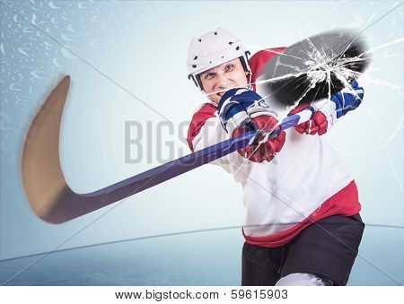 Aggressive hockey player shot into camera front glass