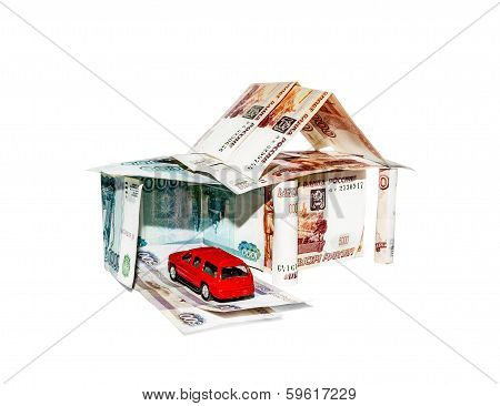 House Made Of Banknotes With A Toy Car