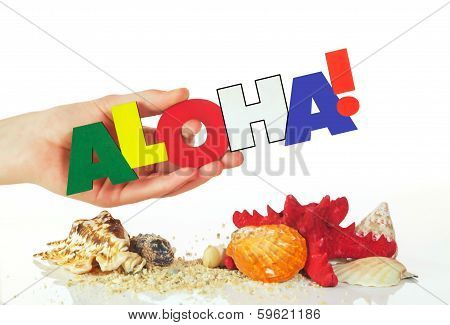 Female Hand Holding Colorful Word Aloha