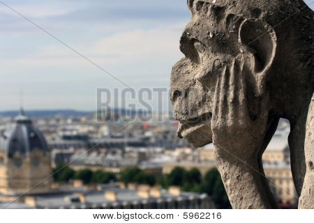 Gargoyle is watching on Paris