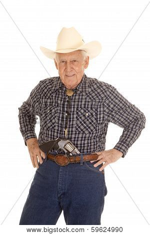 Elderly Man Cowboy Pistol In Pants