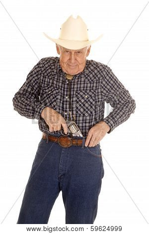 Elderly Man Cowboy Pistol Put In Pants