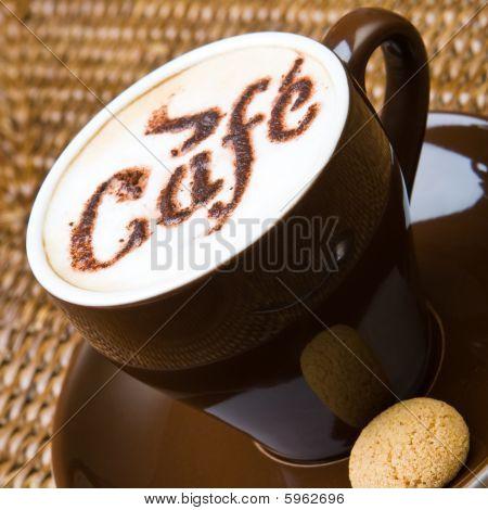 Fresh hot cappuccino
