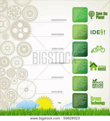 Modern ecology design template with green gear