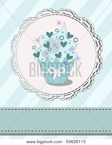 tasteful cupcake with designed space for your text