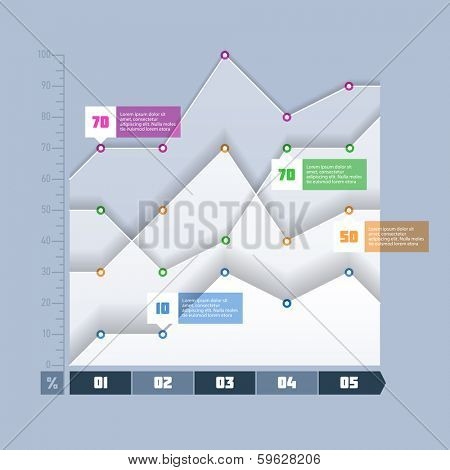 Area chart, graph infographics element. Vector.