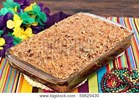 Whole Sheetcake Of A Cajun Cake With Praline Topping.