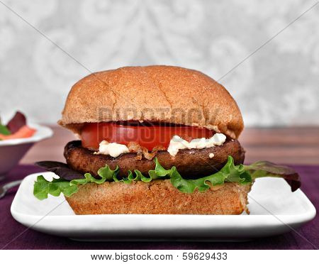 Portobello Mushroom Burger With Goat Cheese.