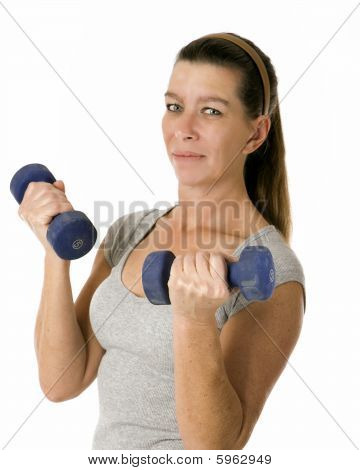 Woman Holding 5 Pound Weights
