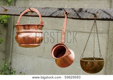 Copper Pots And Kettle
