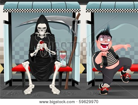 Meetings on the subway station. Funny cartoon and vector illustration