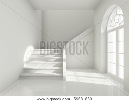 Architectural design of corridor with staircase and  large window
