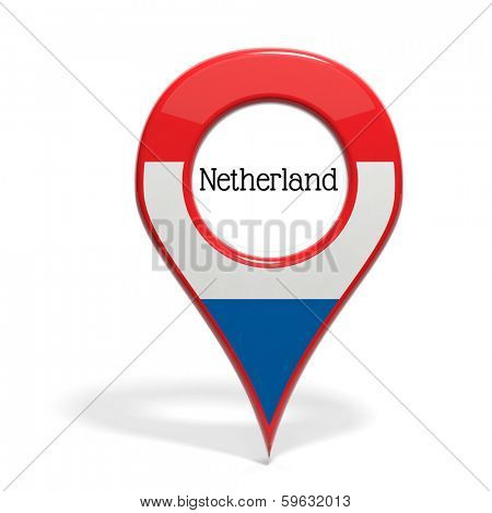 3D pinpoint with flag of Netherlands isolated on white