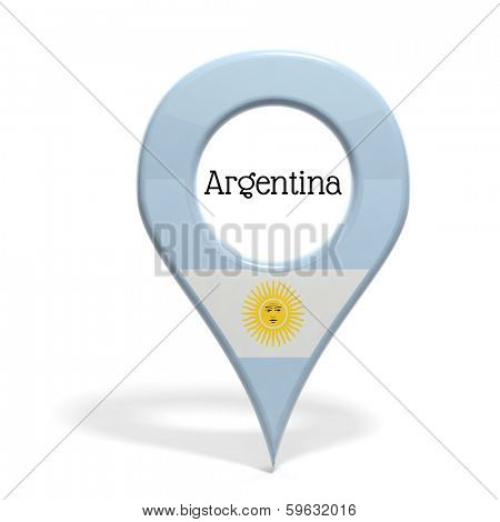3D pinpoint with flag of Argentina isolated on white