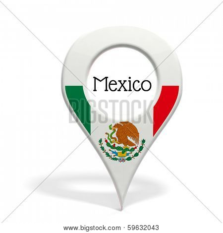 3D pinpoint with flag of Mexico isolated on white